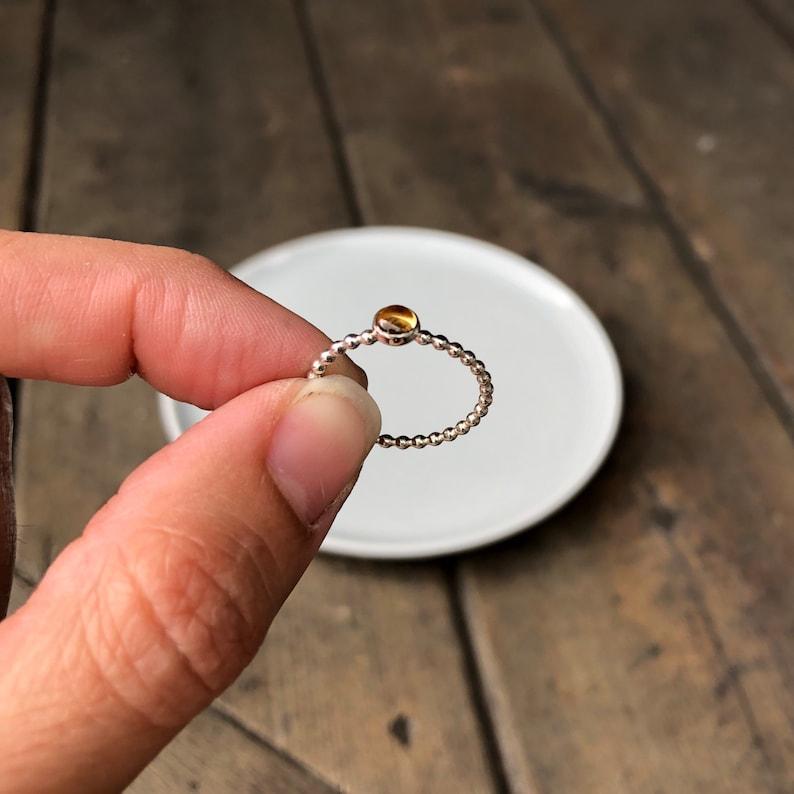 November birthstone ring Citrine Gemstone Ring Citrine Silver Ring 4mm Citrine Ring Citrine Birthstone Ring