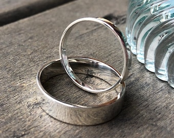 His and Hers Matching Couples Silver Wedding Bands