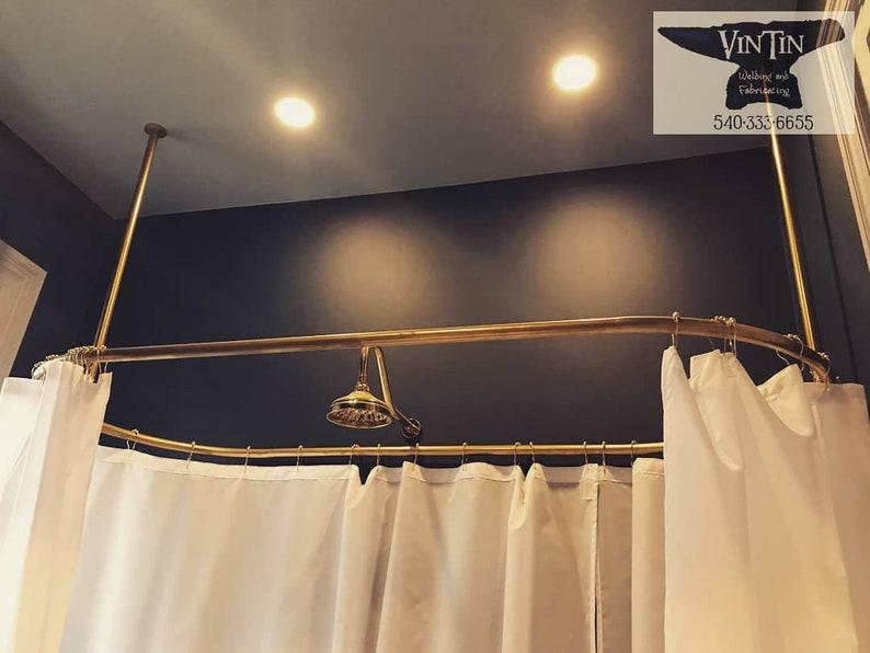 Shower Curtain Rod Ceiling Mount CUSTOM RADIUS And SIZE Hand