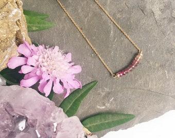 Tourmaline Fade Necklace - Gold Filled -  Pink Tourmaline for Joy