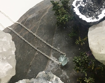 Aquamarine Nugget Necklace - Sterling Silver and Aqua blue green raw crystal - simple minimal jewellery