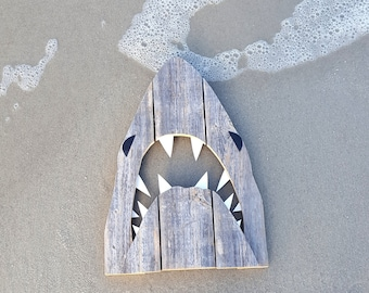 Upcycled Shark, made of recycled  wood.  JAWS, Great White, outdoor art