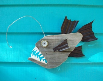 Anglerfish, upcycled, made of recycled wood, angler fish