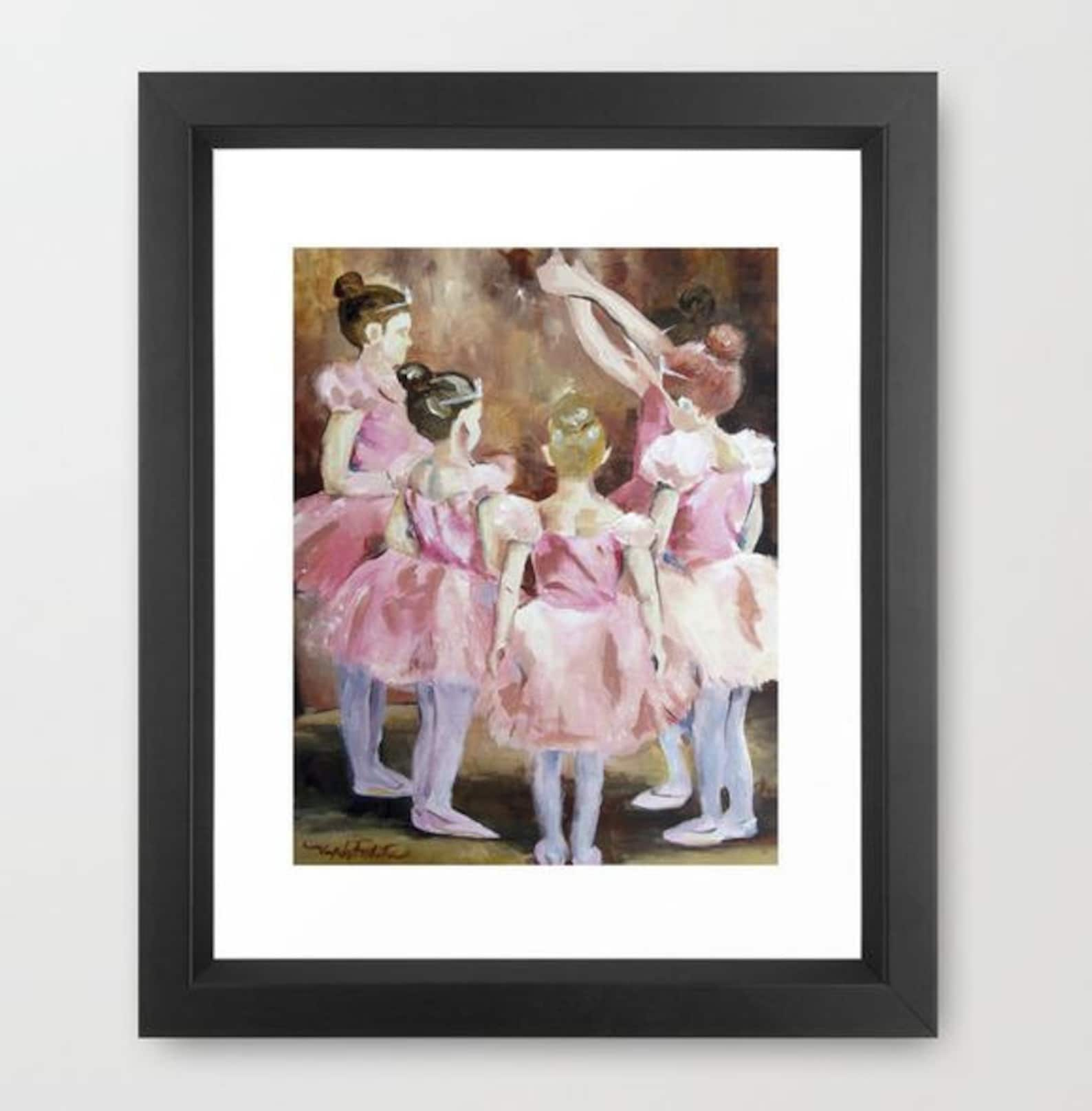 before the dance - ballet series - pink girls in tutus 11x14 poster print kids room wall artwork