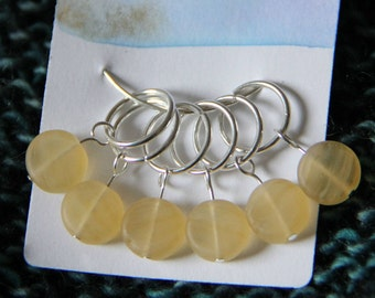 Yellow Glass Round Stitch Markers