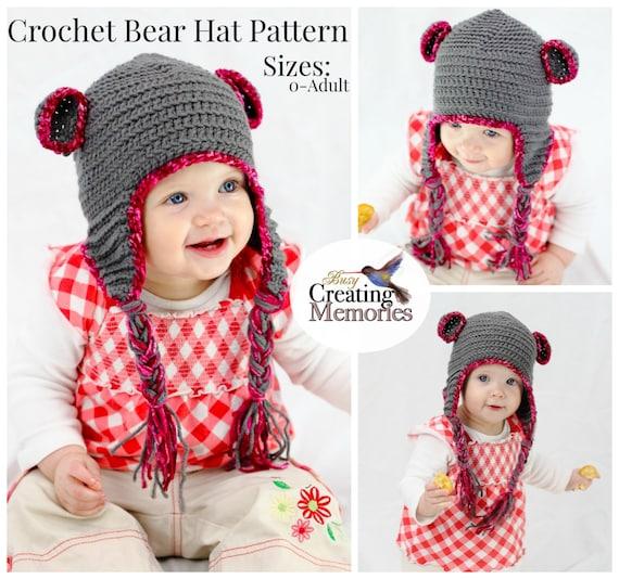 Crochet Pattern  Teddy Bear Baby Hat w  earflaps Child Teen  0b9a9c842af