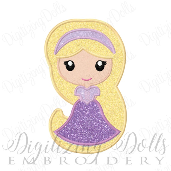 Princess Rapunzel Applique Machine Embroidery Design 4x4 5x7 Etsy