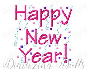 Happy New Year Machine Embroidery Design Digital File 4x4 5x5 6x6 INSTANT DOWNLOAD