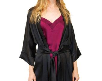 7d81d20e55 Black Silk Robe. Black pure silk robe. Perfect gift for her - ready to ship  - Luxury Short Silk Kimono Robe. Bath robe. Silk