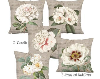 White Flowers Rustic Country Farmhouse Grain Sack Style Pillow Cover - Pillow - 16x 18x 20x 22x 24x 26x 28x Inch Linen Cushion Cover