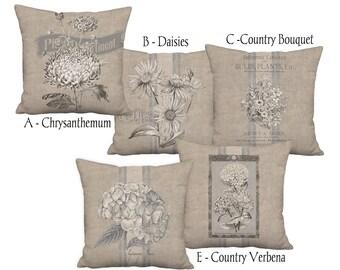 Rustic Americana Country Farmhouse Grain Sack Style Coordinates - 16x 18x 20x 22x 24x 26x 28x Inch Pillow Cover Linen Cotton Cushion Cover