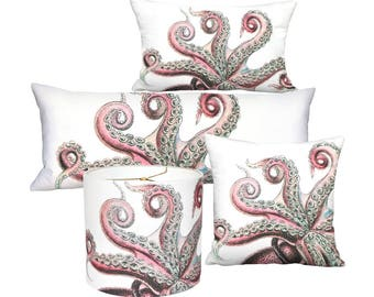 Strawberry Pink Octopus - Square or Oblong Lumbar Pillow Cover - Pillow - 12x18 12x20 14x20 14x26 16x24 16x26 16x 18x 20x 22x 24x 26x 28x