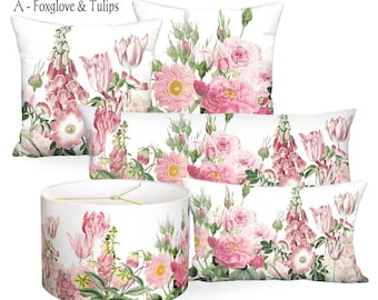 Pink Garden Party Square or Rectangular Lumbar Pillow Cover - Pillow 12x18 12x20 14x20 14x26 14x36 16x24 16x26 16x 18x 20x 22x 24x 26x 28x