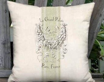 16x16 Inch - READY TO SHIP - Linen Cotton Le Grand Palais Green Grain Sack Style Pillow with Insert - French Farmhouse Grain Sack Cushion