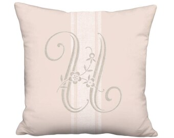 Monogram Pillow Cover - Pillow - Blush Beige Fleur 16x 18x 20x 22x 24x 26x 28x 30x 32x Inch Custom Monogrammed French Grain Sack Style Decor