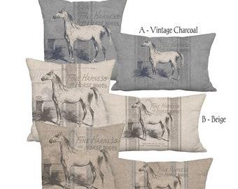 Americana Farmhouse Grain Sack Style Linen Horse Pillow 12x18 12x20 14x26 16x24 16x26 16x 18x 20x 22x 24x 26x 28x Inch Neutral Equine Decor