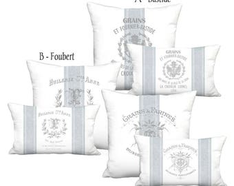 Linen Blue Grain Sack Style French Country Farmhouse Pillow Cover - Pillow - 16x 18x 20x 22x 24x 26x 12x20 14x20 16x26 Inch Cushion Cover