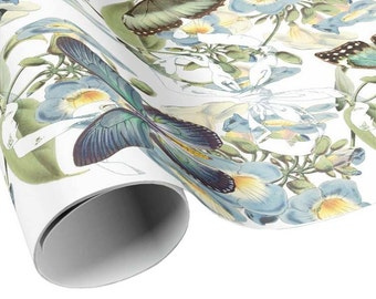 READY TO SHIP - Blue Vine and Butterflies Gift Wrap - Blue Flower and Butterfly Wrapping Paper - Gift Paper - Craft Paper