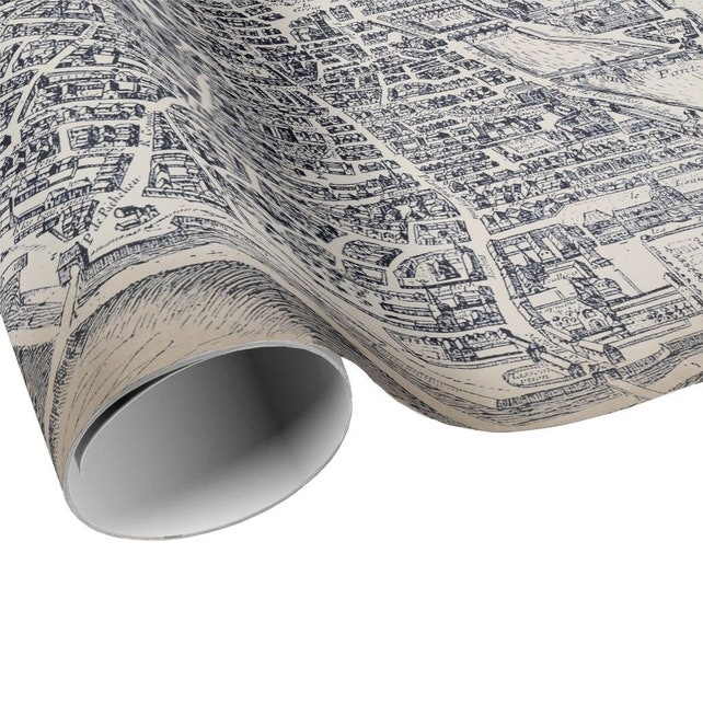 READY TO SHIP - Vintage Plan de Paris Gift Wrap - Paris France City ...