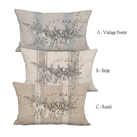 Sizes to Fit Rectangular Oblong Lumbar Inserts Garland of Roses French Country Farmhouse Grain Sack Style Linen Cotton Pillow Cover Pillow Cover