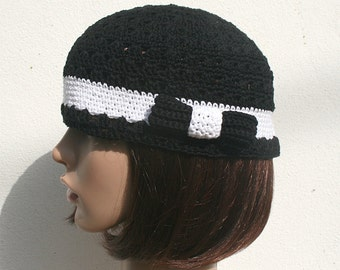 Crochet cotton woman Black White Hat  - Custom colour size - 20th style - False ribbon and bow - Evening daytime - French Handmade