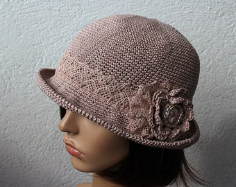 Crochet cloche summer hat - Antique mauve colour - Lace ribbon vintage style - crochet flower, beads and lace - OOAK - Handmade in France
