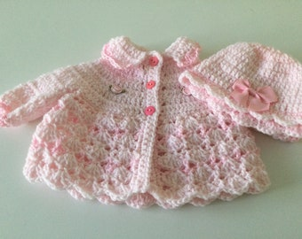 Sweater set premie or baby dolls pink