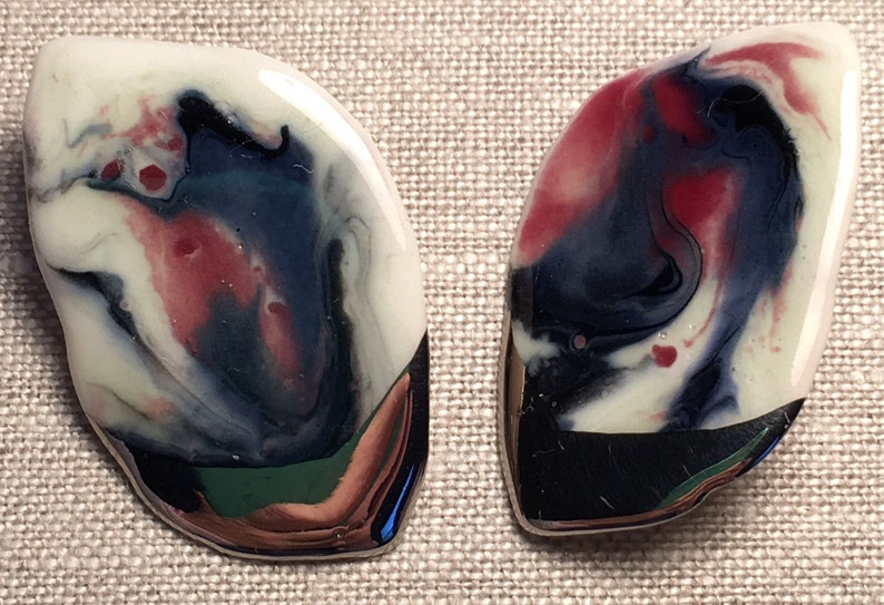 Hand Crafted One of a Kind Vintage Enamel and Sterling Silver Clip On Earrings