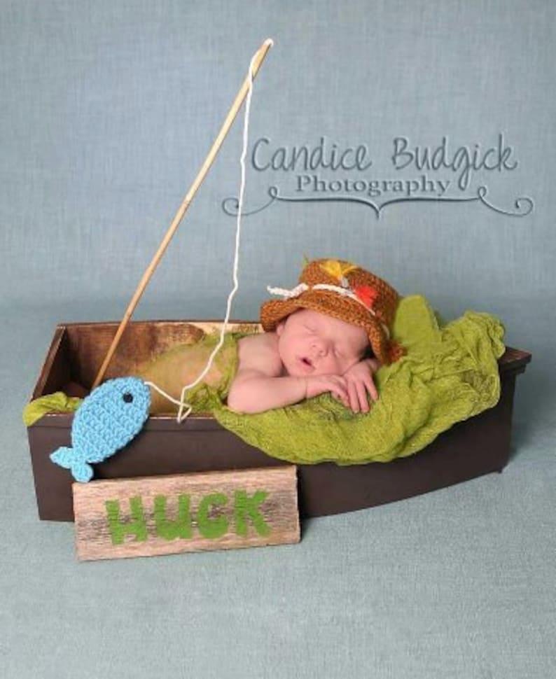 871521ab0560e Newborn Fishing Hat Baby Boy Fisherman Hat and Fish Set | Etsy
