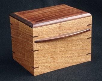 """Oak & Walnut """"Hot Fudge"""" Recipe Box for 3x5 cards"""