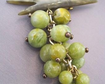 Vintage Lucite Grape Cluster Brooch