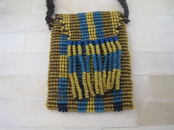 Vintage Seed Bead Native American Mini Purse