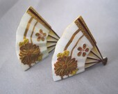 SALE Vintage Painted Porcelain Toshikane Fan Earrings