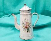 Antique enameled French Coffee pot white hand painted dogroses mysotis, Enameled coffee biggin, Antique enameled coffee pot