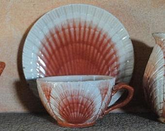 Antique French MAJOLICA Barbotine tea set SHELL shape SARREGUEMINES