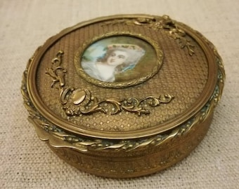 Antique French JEWEL BOX Marie Antoinette hand painted MINIATURE gilded bronze