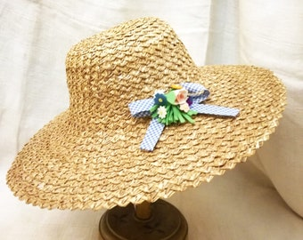 3cfe0769 Vintage Italian sun hat in straw of Florence with millinery felt flowers  decoration years 1950's, italian straw hat, vintage hat wide brim