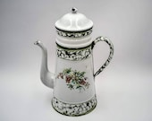 Antique enamel French Coffee pot, green marbled effect bands, Enameled coffee biggin, Antique French enameled coffee pot, vintage coffee pot