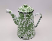 Antique enamel French Coffee pot, light green marbled effect, Enameled coffee biggin, Antique French enameled coffee pot, vintage coffee pot