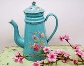 Antique enamel French Coffee pot, light blue and airbrushed violets bouquet butterfly, Enameled coffee biggin, Antique enameled coffee pot
