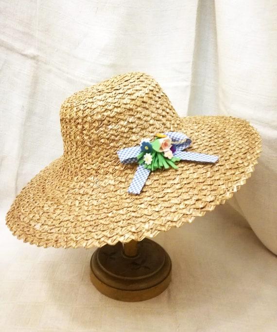 Cappello da sole vintage in paglia di Firenze decorato con  5c3132ba155f