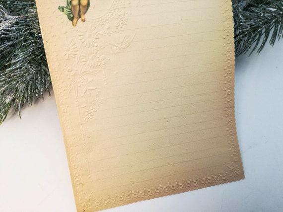 embossed design Xmas letter paper for Santa Batch n.4 Batch of 3 antique Italian Xmas letter papers for Santa Angels die cut chromos