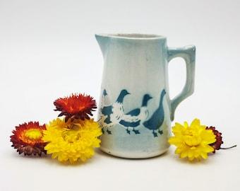 Antique French ceramic creamer, earthenware creamer - milk jug with green ducks decor, antique creamer K G Luneville, collectable creamer