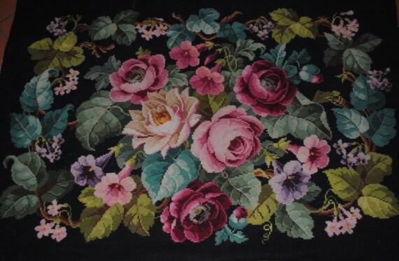 Tappeto vintage in lana con ricamo a punto croce con rose etsy