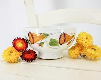 Antique French cafè au lait bowl hand painted trumpet flowers, Saint Amand, antique French ceramic bowl, collectable cafè au lait bowl