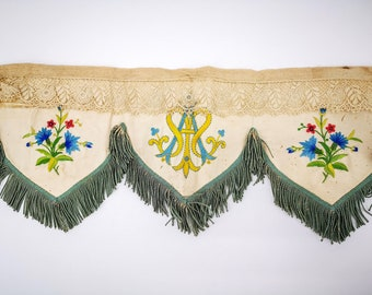 Antique religious althar valance - pelmet, ivory silk, hand embroidered monogram AM, embroidered flowers, lace and silk fringes