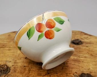 Antique French cafè au lait bowl hand painted cherries & lustre, Saint Amand, antique French ceramic bowl, collectable cafè au lait bowl