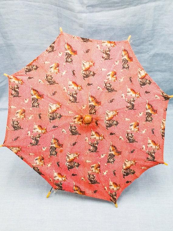 Antique French child parasol umbrella pink textile