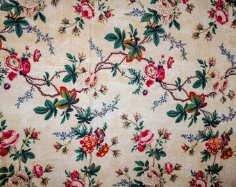Antique French fabric, light weight cotton, roses & flowers ramage, picotage, Victorian era French fabric, antique textile 1880's