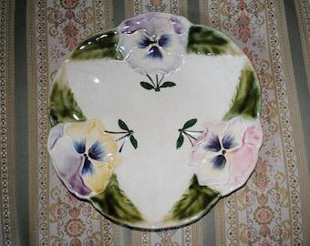Antique French Majolica BARBOTINE PLATE PANSIES signed Choisy Le Roi